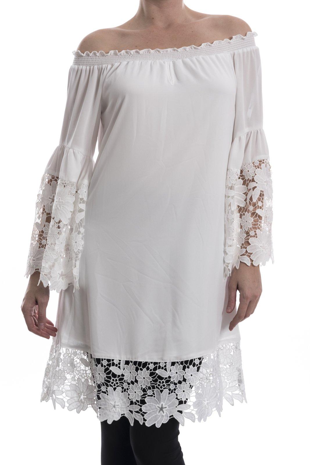Joseph Ribkoff Lace Trim Off White Dress Style 181242 - Medium