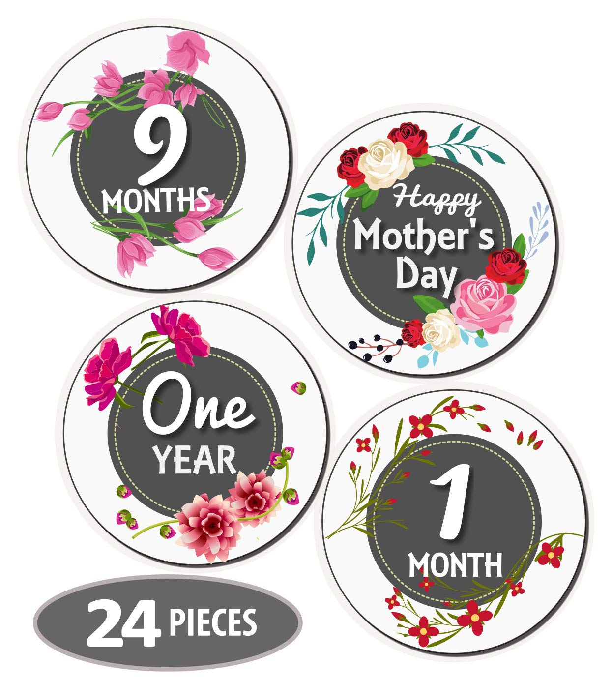 Mesmerico 24 Baby Monthly Holiday Floral Stickers – Baby Girl First Year Month Age Growth Milestones – Month Stickers for Baby – Onesie Belly Stickers – Unique Baby Shower Newborn Gifts