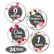 Mesmerico 24 Baby Monthly Holiday Floral Stickers - Baby Girl First Year Month Age Growth Milestones - Month Stickers for Baby - Onesie Belly Stickers - Unique Baby Shower Newborn Gifts