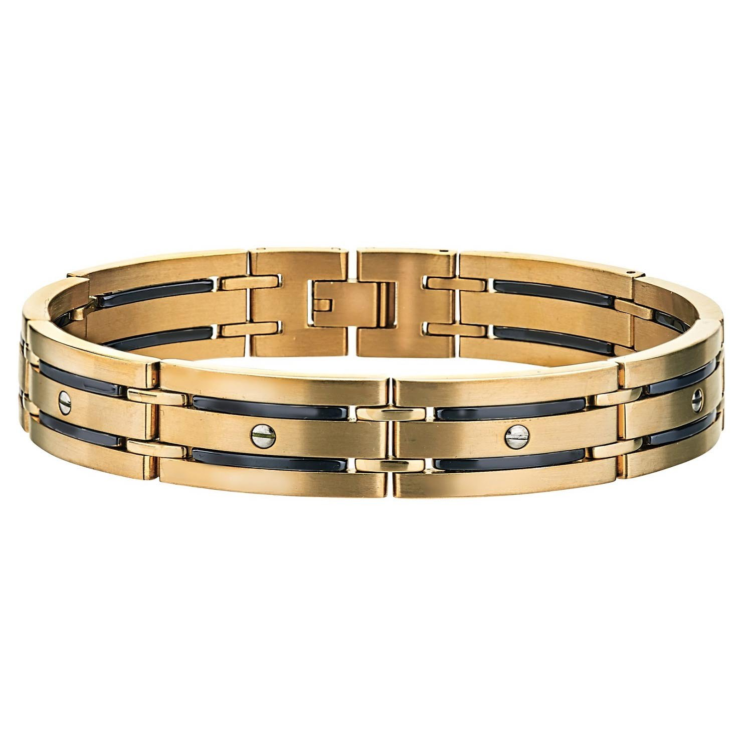 AX Jewelry Mens Screw Bracelet in Yellow Stainless Steel