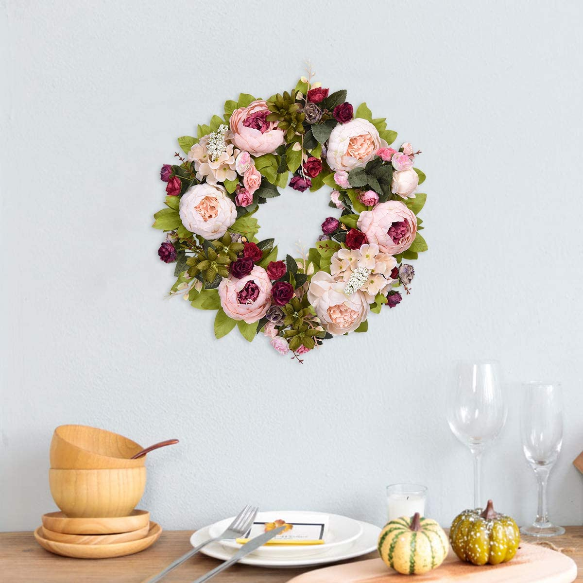 Sunm Boutique Artificial Peony Flower Wreath, 15.7