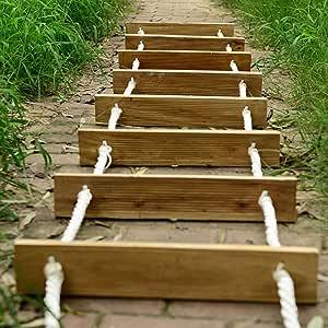 HHORD Escalera de Cuerda de Escape de Incendios, Escaleras de Rescate Plegables al Aire Libre, Escalera Blanda portátil versátil Que Trabaja en Altura Escalera de Madera de Seguridad,5M: Amazon.es: Hogar