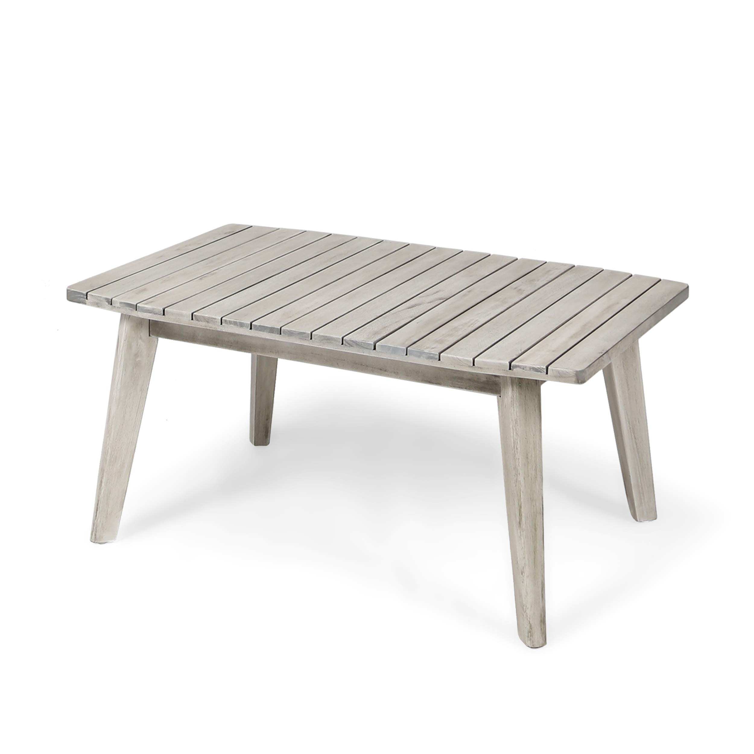 Boyle Outdoor Acacia Wood Coffee Table, Weathered Gray Finish