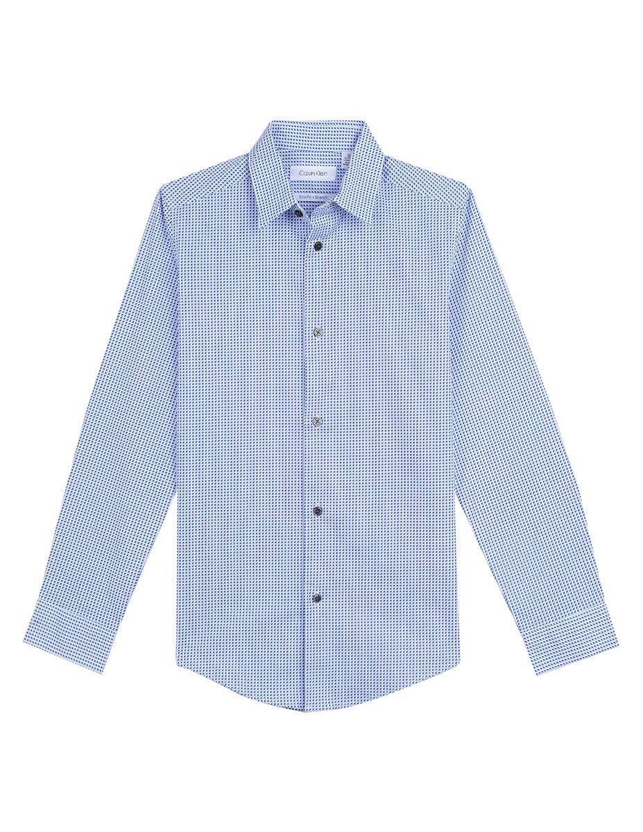 Calvin Klein Big Boys' Long Sleeve Printed Button-Down Dress Shirt, Split White, 16