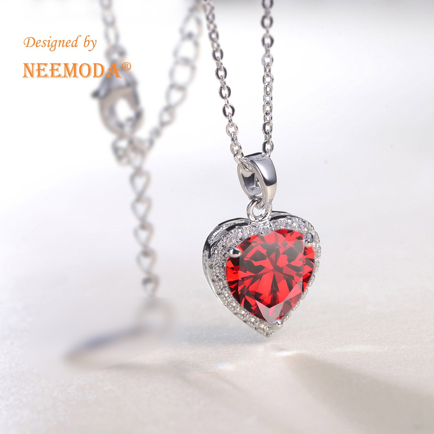 2 inches Triple White Gold Plated Chain 18 inches NEEMODA Shining Love Hand-Inlaid 5A Cubic Zirconia Heart Necklace with Luxury Gift Box