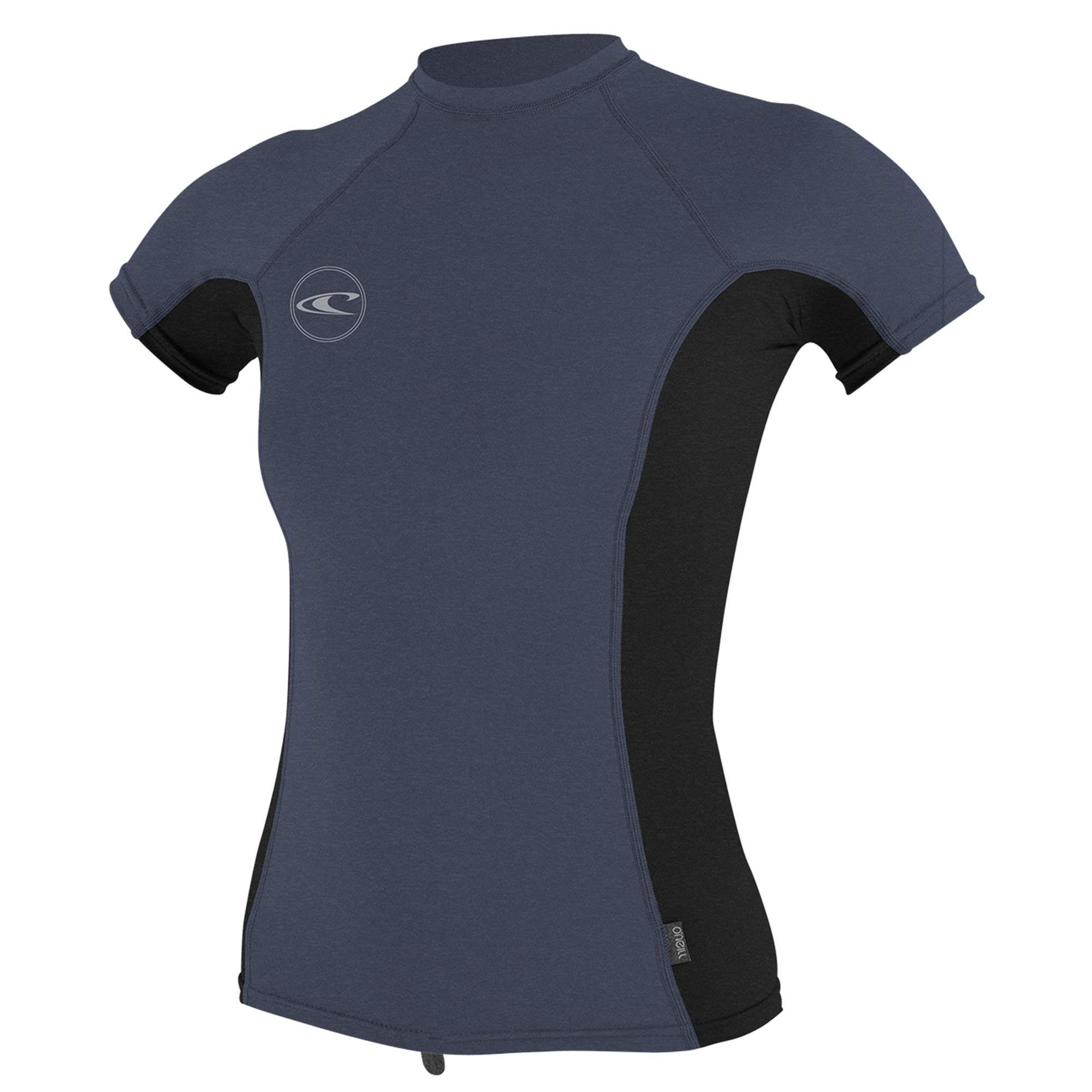 O'NEILL Oneill Womens Hybrid Short Sleeve Rash Guard - Mist Black Mist - Mist Black Mist Premium, Small by O'NEILL
