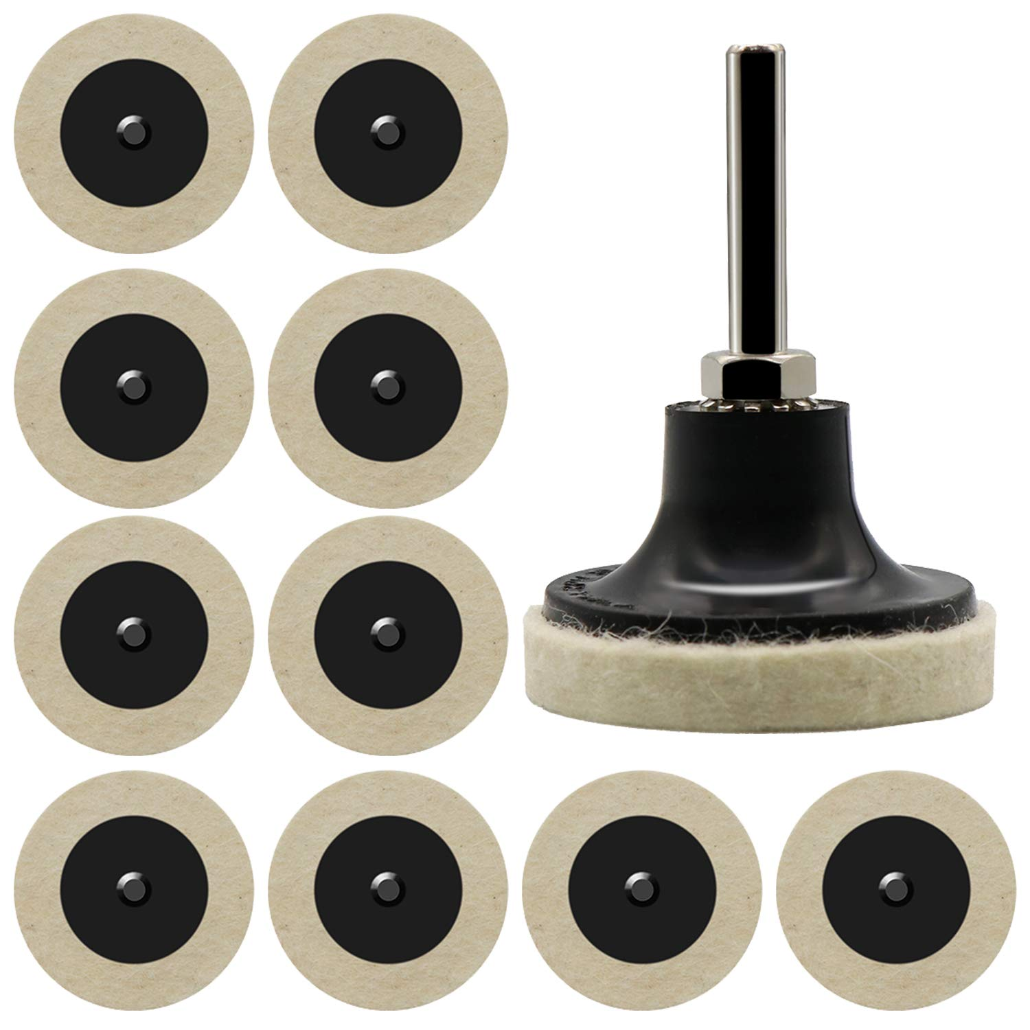 """10pcs Compressed Wool Fabric QC Disc Pads Plus 2 Inch Roloc Disc Pad Holder with 1/4"""" Shank for Polishing, Buffing, Sanding, Surface Preparation-White"""