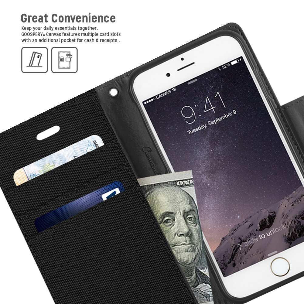 Iphone 6s 6 Case Drop Protection Goospery Canvas 7 Plus Fancy Diary Black Denim Material Wallet Id Credit Card And Cash Slots With Stand Flip Cover For
