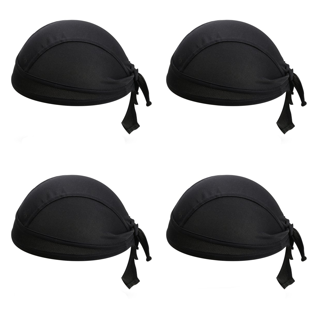 4Pcs/Set Black Skull Cap Quick Dry Adjustable Beanie Cap Bandana Pirate Scarf Head Wraps Dew Rap Sport Hat Cap for Cycling Motorcycle Running UV Protection (Black) YESURPRISE