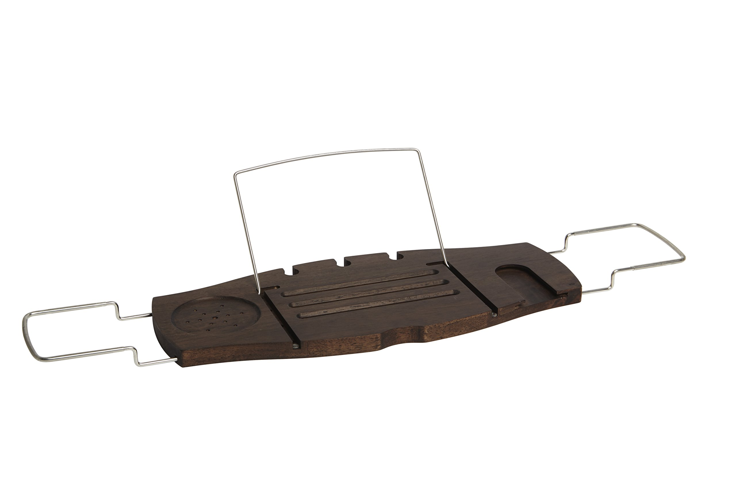 Umbra Aquala Bathtub Caddy Bamboo Extendable and Adjustable Tray Holder, Walnut Finish
