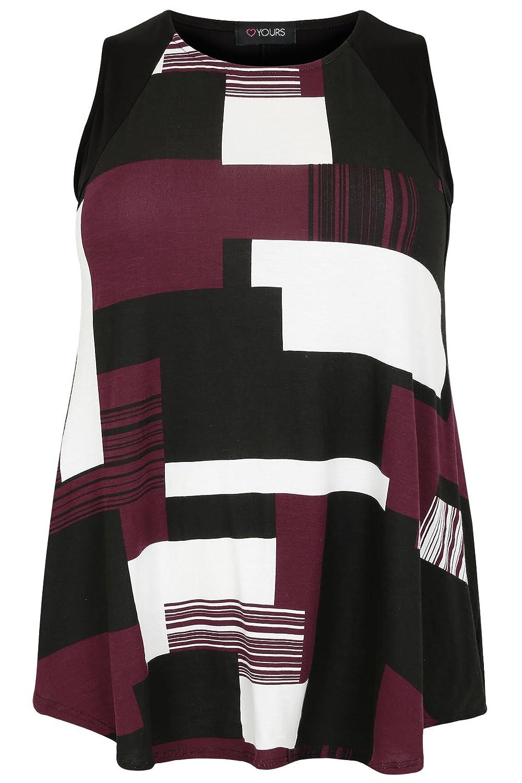 Womens Black, White & Burgundy Colour Block Sleeveless Top With Curved Hem