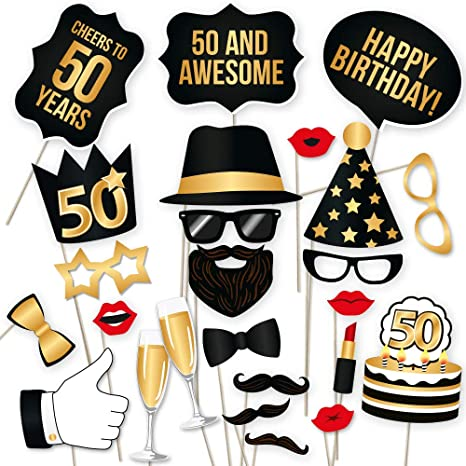 50th Birthday Photo Booth Props – Fabulous Fifty Party Decoration Supplies  For Him &Her, Funny Fiftieth Bday Photobooth Backdrop Signs For Men And