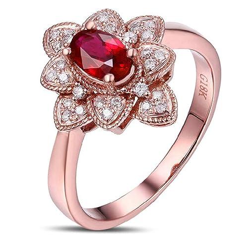 Epinki 18k Oro Anillos para Mujer Flor Loto Anillo de Diamante Anillos Compromiso con Blanco Rojo Diamante Rubí: Amazon.es: Joyería
