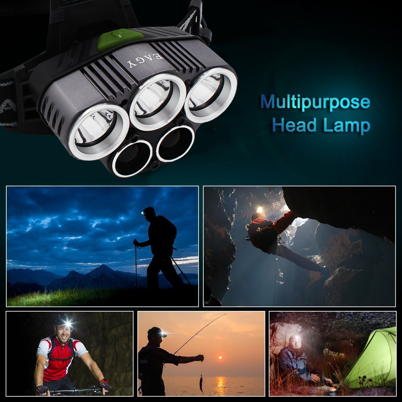 EAGY Headlamp, 5000 Lumen CREE LED Work Headlight,18650 Rechargeable Waterproof Flashlight with 6 Modes Zoomable Work Light,Best Head Lights for Camping Running Hiking by EAGY (Image #7)