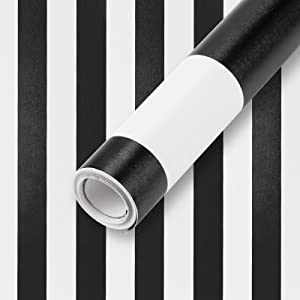 """Wall Paper Stripe Black and White Contact Paper 17.7""""x 118"""" PVC Self-Adhesive Peel and Stick Wallpaper Easy to Clean Wall Covering Panel Interior Vinyl Film Roll"""
