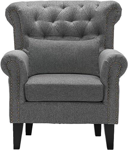 Modern Single Sofa Chair Large Living Room Arm Chair Tufted Club Chair