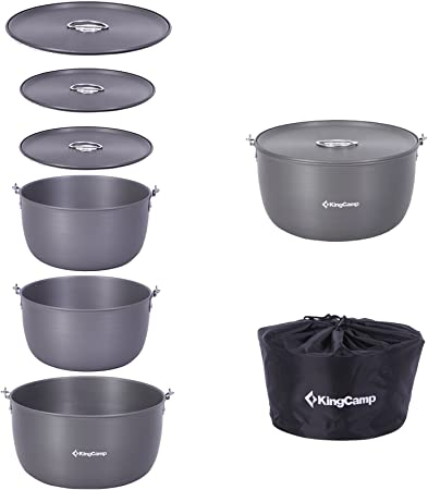 KingCamp Utensilios de Cocina para Acampar de Gran tamaño Aluminio anodizado Duro sin Palo Juego de Cocina portátil liviano para 6-8 Personas