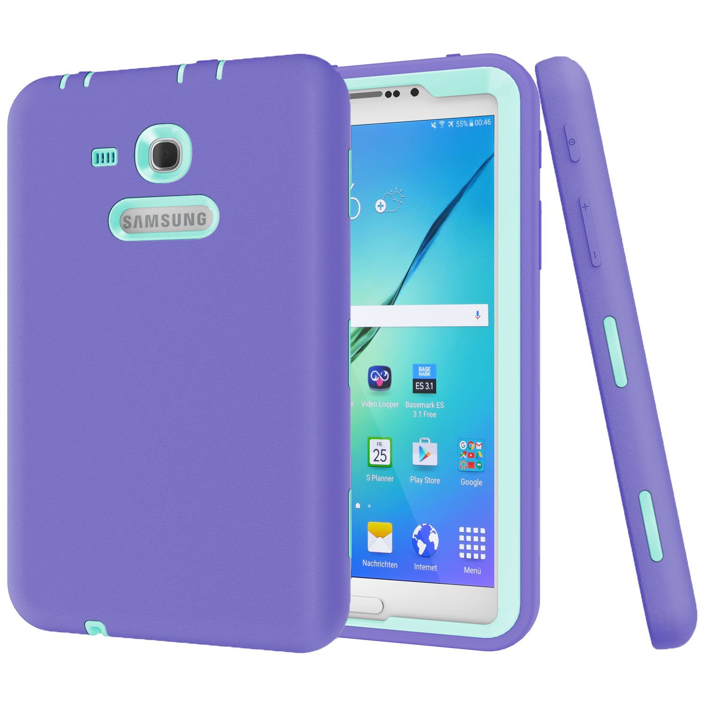 Galaxy Tab 3 Lite 7.0ケース、beimu 3 in 1耐衝撃ヘビーデューティ頑丈ハイブリッドArmor Defender保護カバーfor Samsung Galaxy Tab E Lite 7.0 SM - t113 &タブ3 Lite t110 / t111  Purple+Aqua B06Y2B647Y