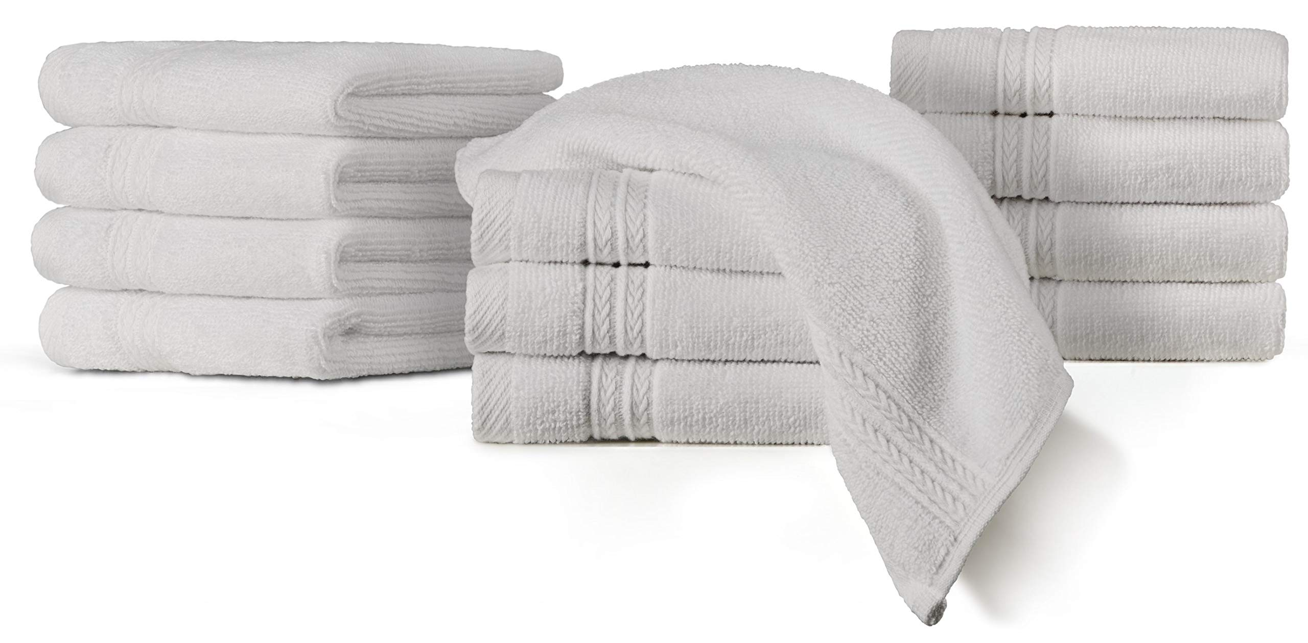 TowelPro Luxury Premium Super Soft 100% Cotton Highly Absorbent Machine Washable Multi-Purpose, Hotel, Spa, Home, Wash Cloths Set of 12 Sport and Workout Towels 12'' X 12'' (White)