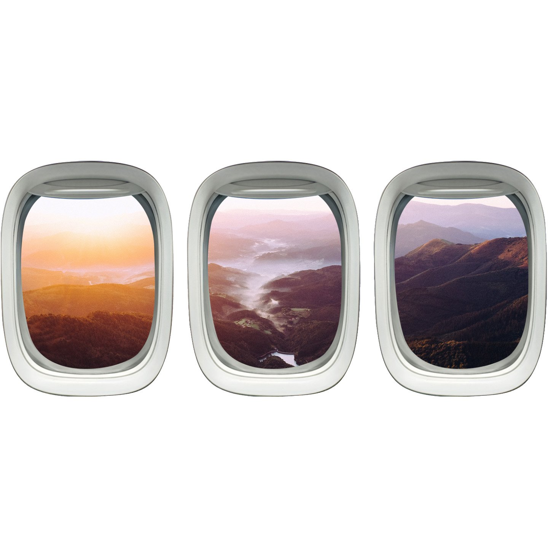 VWAQ Landscape Wall Stickers Airplane Window Decals Kids Room Decor PPW7