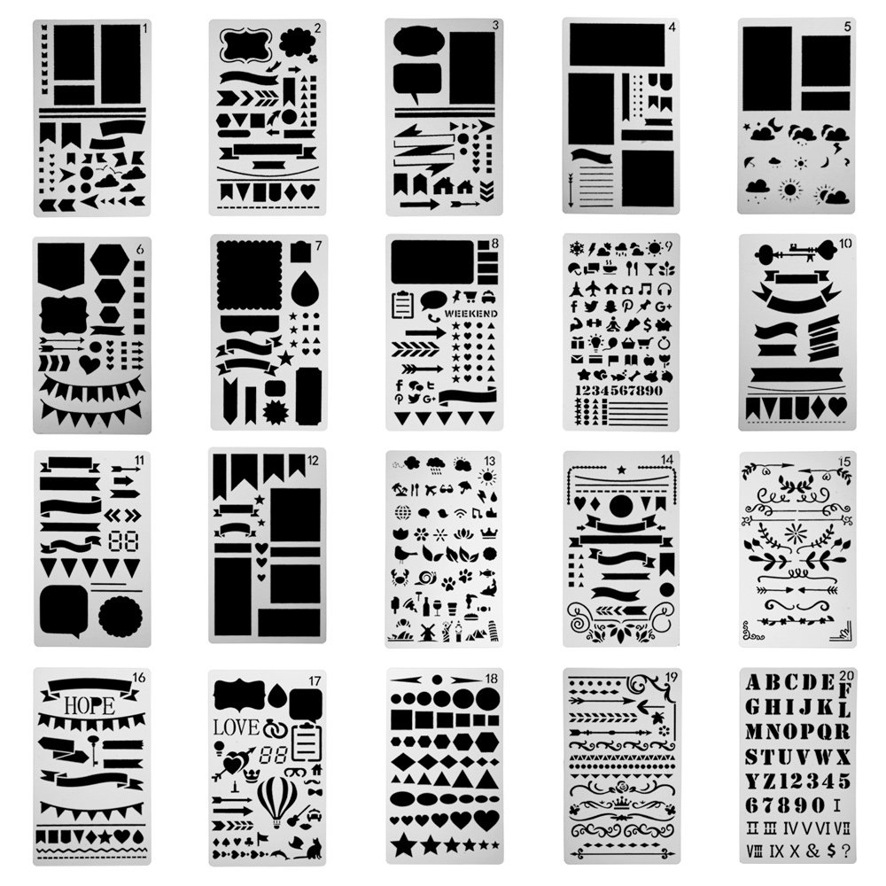 Antner 20 Pcs Plastic Bullet Journal Stencil Set Journal/Notebook/Diary/Scrapbook DIY Drawing Template Stencil, 4 x 7 Inches