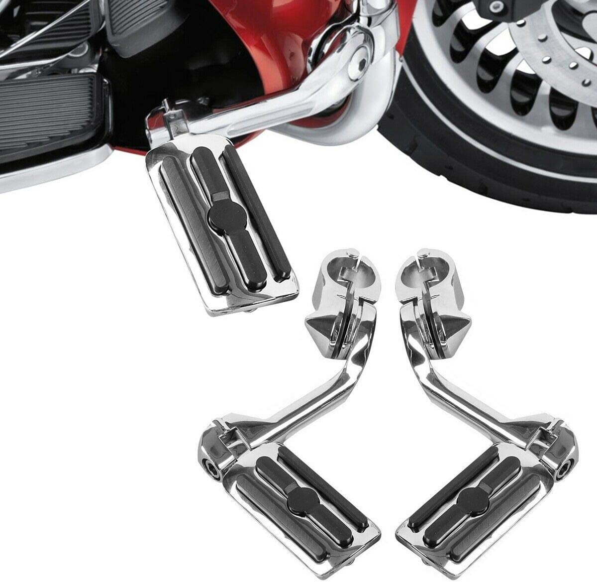 TCMT Black Footrest Foot Pegs 1-1//4 Short Angled Mount Fit For Harley Davidson Touring Road Glide Electra Glide Road King Street Glide