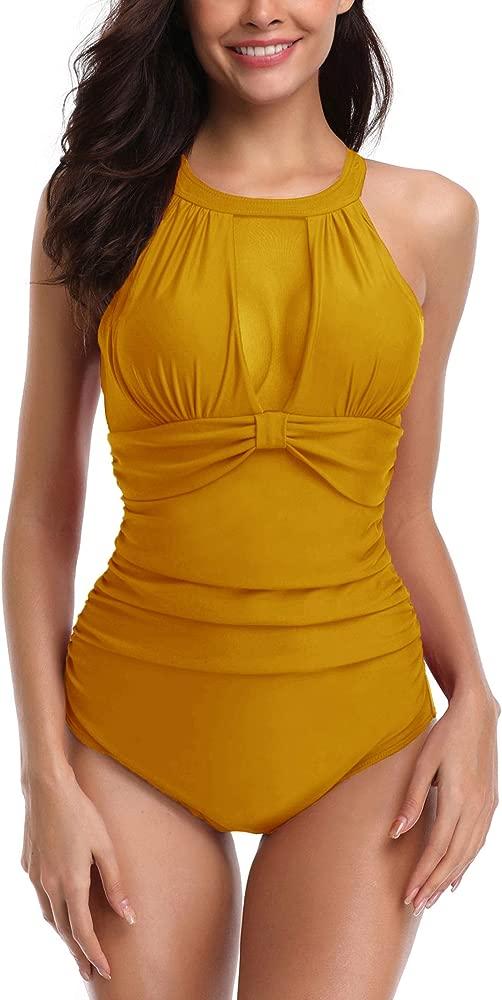 Yooeen Traje de Baño de Una Pieza para Mujer Push Up Monokini Acolchado Elegante Malla Traje de Natación con Uno/Dos Tirantes
