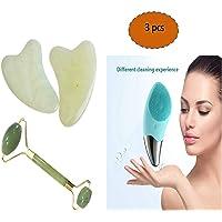 masajeador facial rodillo de piedra jade cuarzo