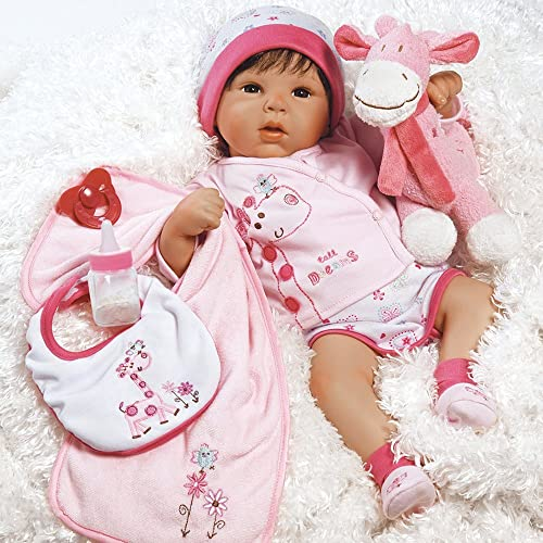 Lifelike Realistic Baby Doll with 10 pieces of clothing and Giraffe plush #giftideas