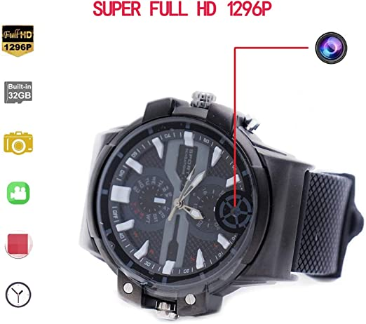 KEQI Super HD motion detection 2K Resolution Camera Wrist Smart Watch Camera 32G Video Photo Audio Recording (Built-in 32GB)