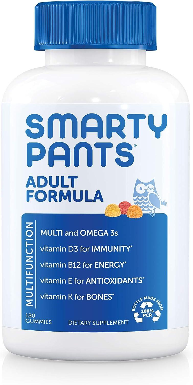SmartyPants Daily Gummy Multivitamin Adult: Vitamin C, D3, & Zinc for Immunity, Omega 3 Fish Oil (DHA/EPA), Iodine, Choline, Vitamin B6, E, Methyl B12, 180 count (30 Day Supply)