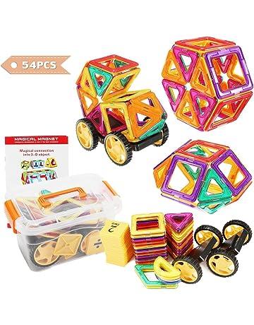 FUNTOK Bloques de Construcción Magnéticos, 54 Piezas Magnéticos Bloques Juguetes Construcción Set, Niños Early