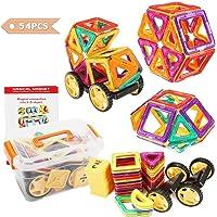 FUNTOK Bloques de Construcción Magnéticos, 54 Piezas Magnéticos Bloques Juguetes Construcción Set, Niños Early Educativo Juguetes Colorido Creativo Mejor Regalo de Juguete Juegos de Puzzle