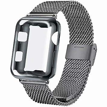 INZAKI Correa con Funda para Apple Watch 38mm 40mm 42mm 44mm, Malla de Acero Inoxidable Correa de Bucle con Protector Pantalla para iWatch Serie 4/3 / ...