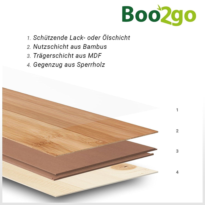 Parkett Bambus Fertigparkett Toba hellbraun ge/ölt Klicksystem Bambusparkett Boo2Go