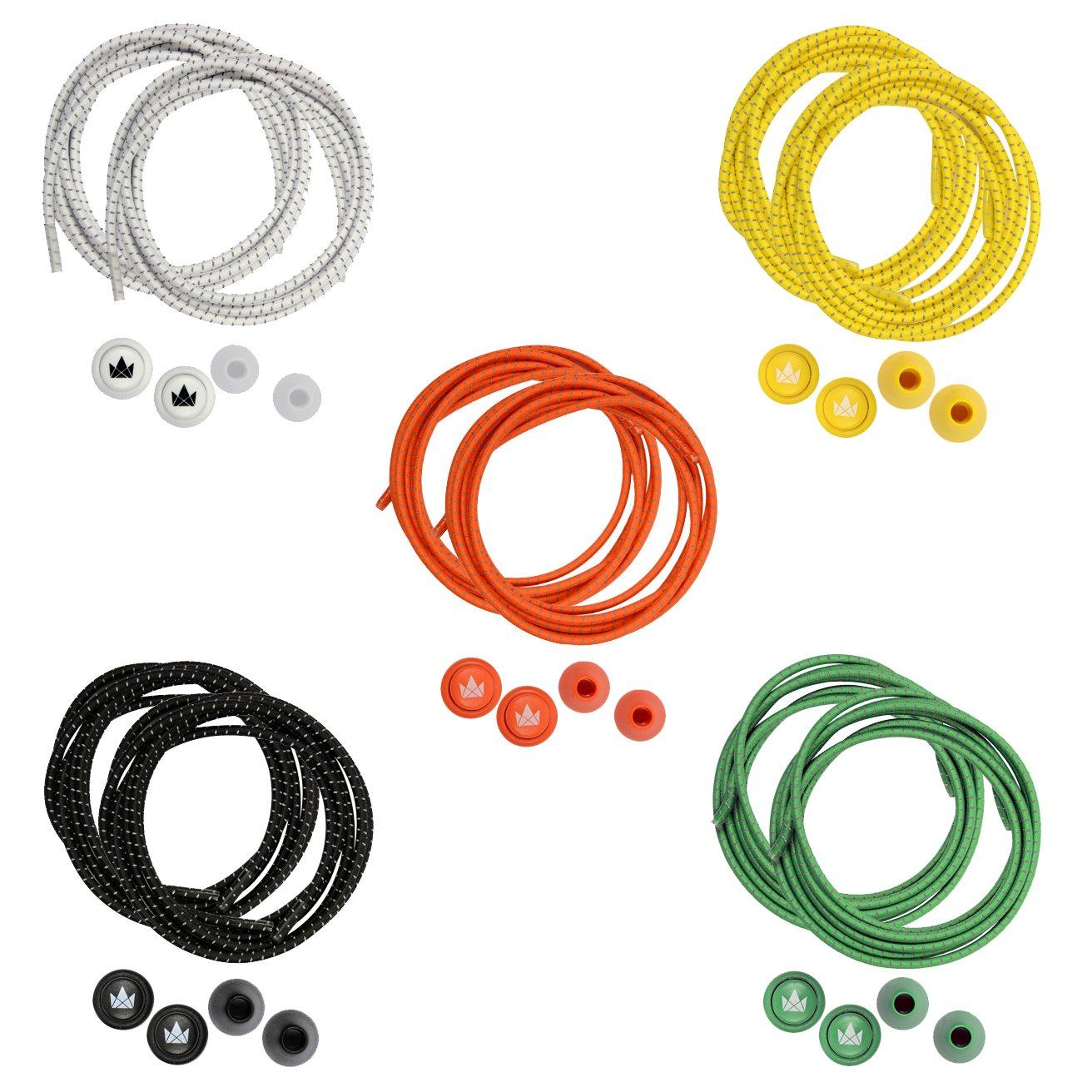 The Friendly Swede Lacci per Scarpe Elastici e Autobloccanti (5 Paia) con  Inserti Riflettenti (Arancione+Giallo+Verde+Bianco+Nero) 9a1369a6438