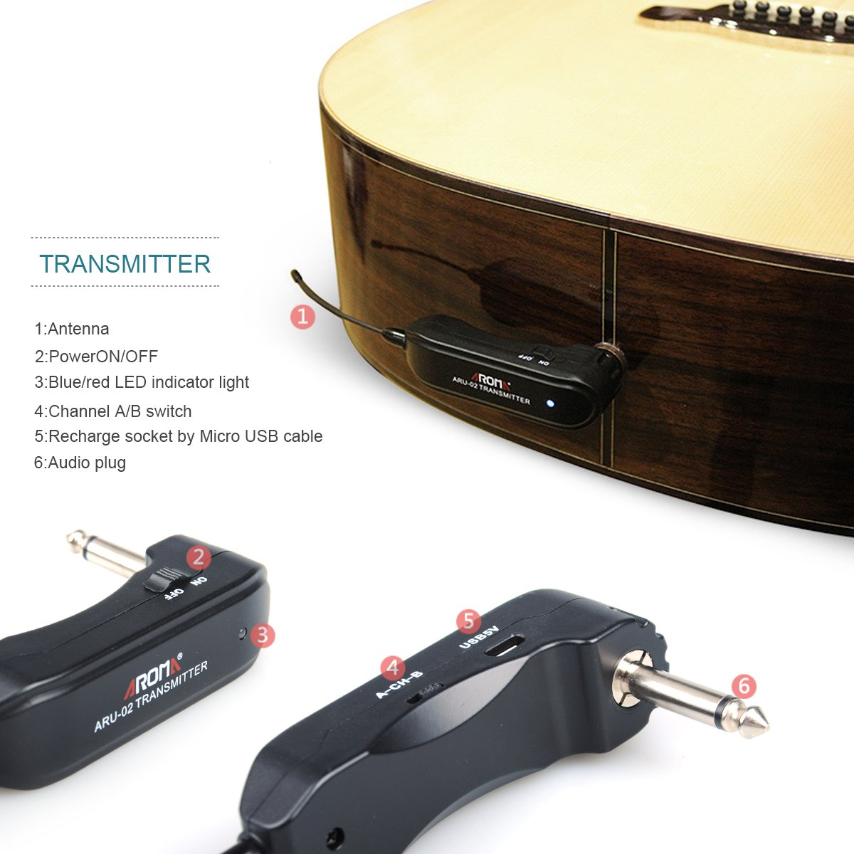 Aroma Aru 02 Wireless Guitar System Digital 2 Channel 635 Mm Plug Modify Acoustic Into The Electric On Fm Transmitter Receiver Set For Bass Plastic Black Musical