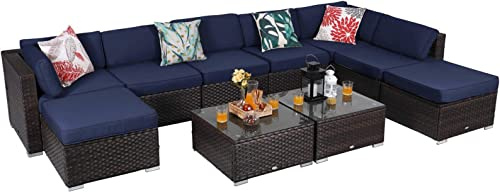 PHI VILLA Wicker Outdoor Furniture Set Rattan Patio Sectional Sofa