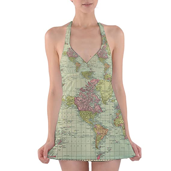 Queen of cases antique world map 1913 halter swim dress swimsuit queen of cases antique world map 1913 halter swim dress swimsuit s gumiabroncs Images