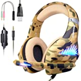 Gaming Headset for PS4, Xbox One, PC, Nintendo Switch, Laptop Cellphone -Stereo Surround Gaming Headphones with Microphone, Noise Cancelling, LED Lights, Volume Control 3.5 mm Jack - Camo