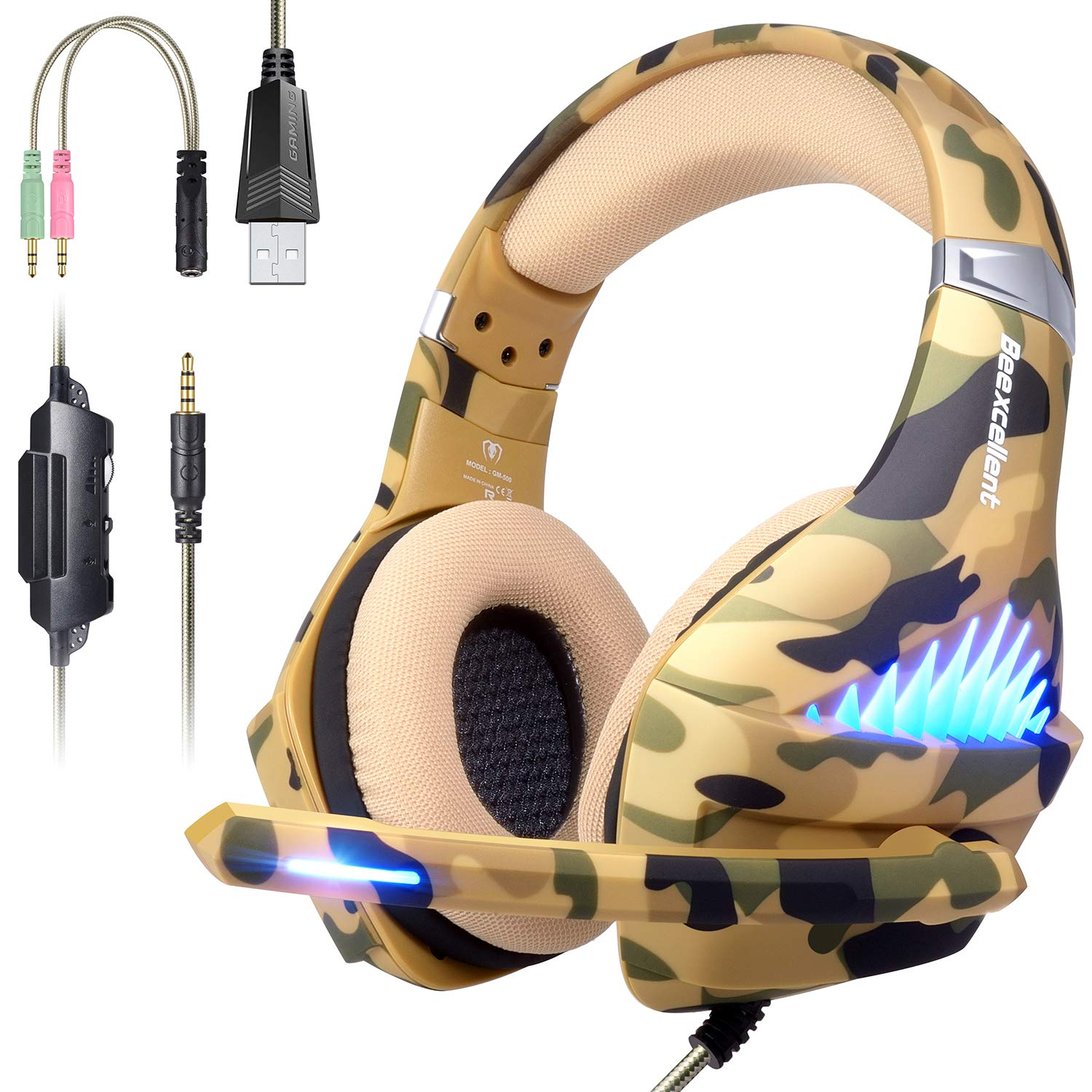 Gaming Headset for PS4, Xbox One, PC, Nintendo Switch, Laptop Cellphone -Stereo Surround Gaming Headphones with Microphone, Noise Cancelling, LED Lights, Volume Control 3.5 mm Jack - Camo by Beexcellent
