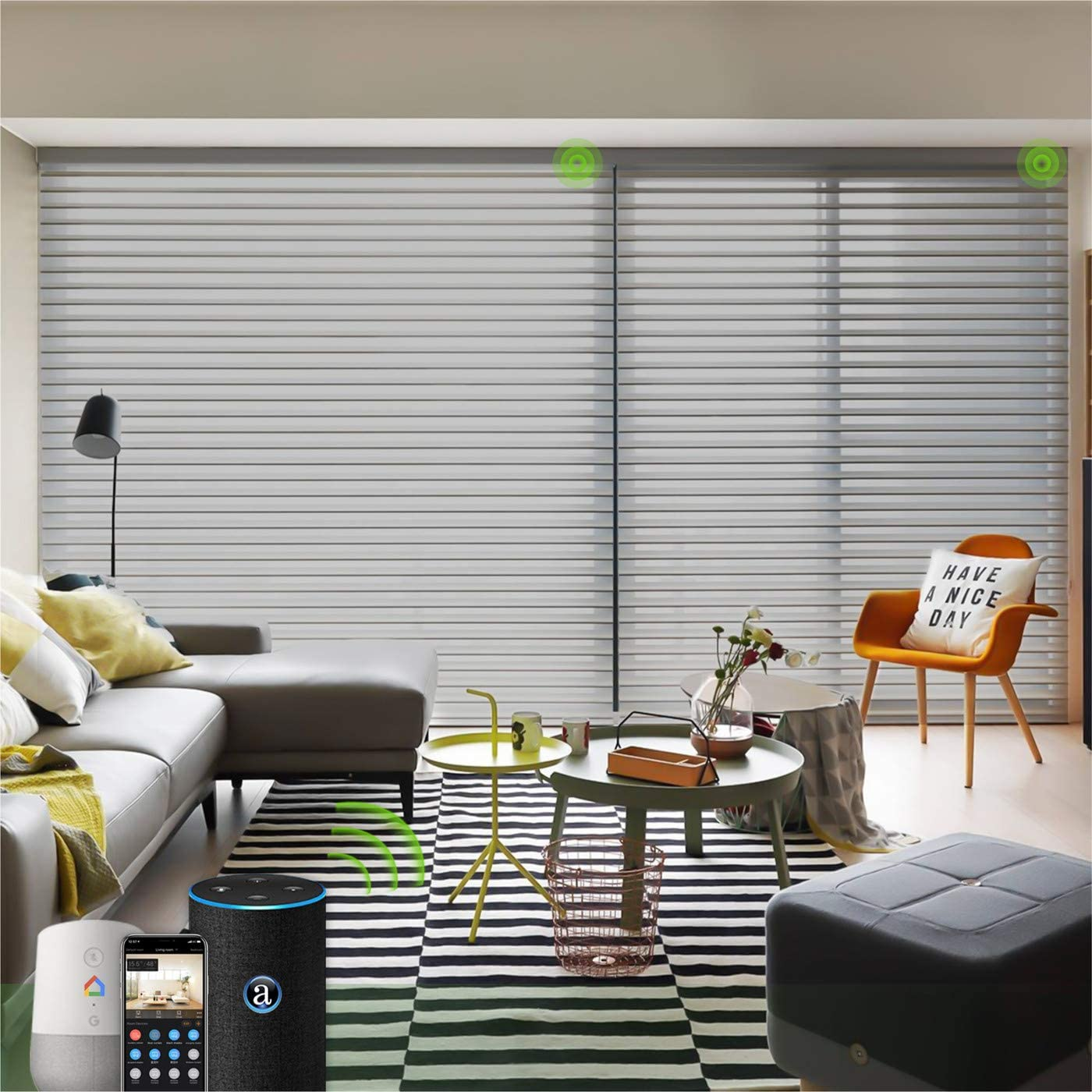 Yoolax Motorized Window Blind Shangri-la Sheer Shade Work with Alexa, Remote Control Wireless Battery Rechargeable Light Filtering for Privacy Customized Size (85% Shading-Grey)