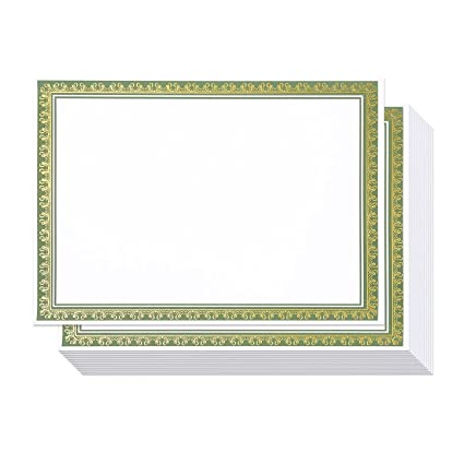 amazon com 50 pack award certificate paper embellished green