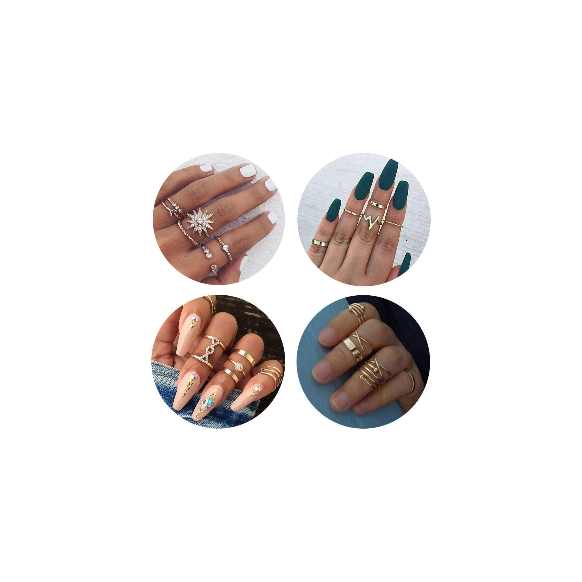 QXFQJT Knuckle Ring Set Vintage Stackable Midi Finger Rings Set for Women Girl Hollow Carved Flowers (22pcs-Gold)