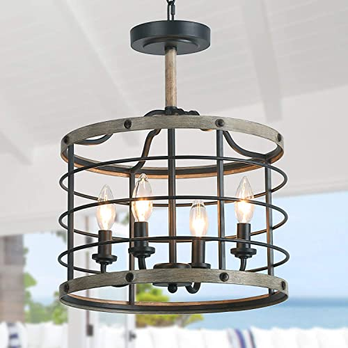 LALUZ Metal Drum Chandelier Farmhouse Chandeliers for Dining Rooms 4 Lights Pendant Lighting with Faux Wood Finish, W14.2 xH17.3