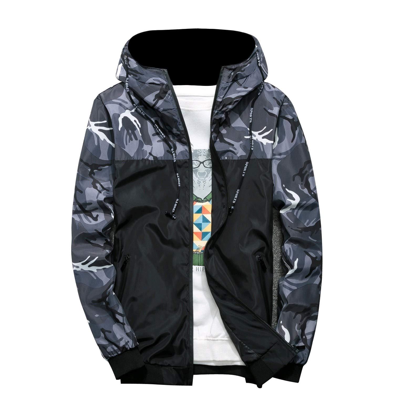 Cobama Mens Thin Hooded Camo Spring//Fall Windbreaker Zipper Jackets