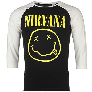 Nirvana Smiley Raglan T-Shirt Mens Black/White Casual Wear