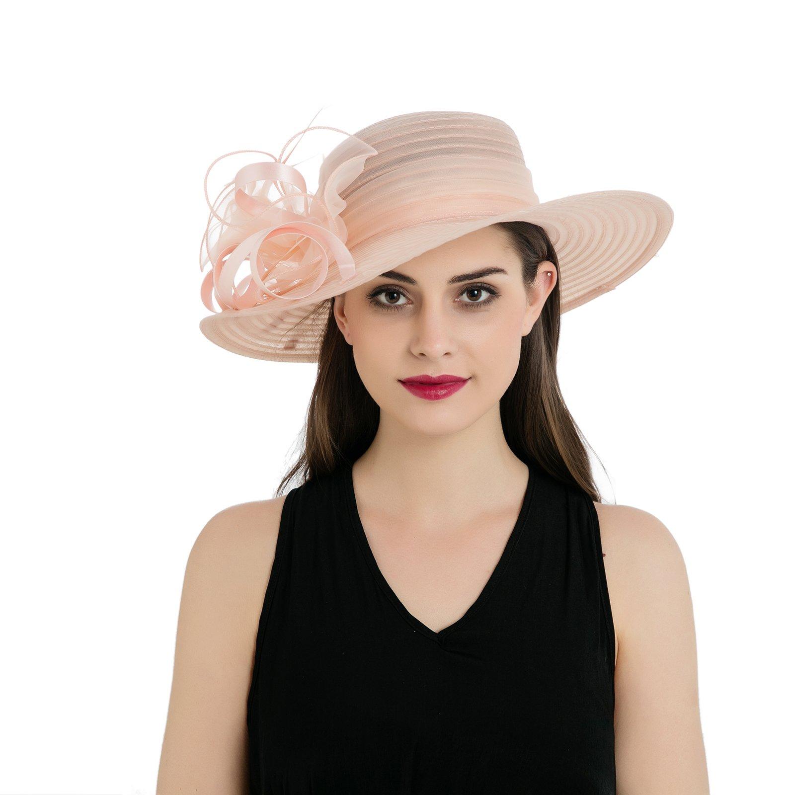 Dantiya Womens Organza Wide Brim Floral Feather Ribbon Kentucky Derby Church Dress Sun Hat, Flesh Pink Free