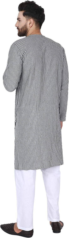 SKAVIJ Hommes Coton Indienne Tunique Longues Kurta Robe Chemise
