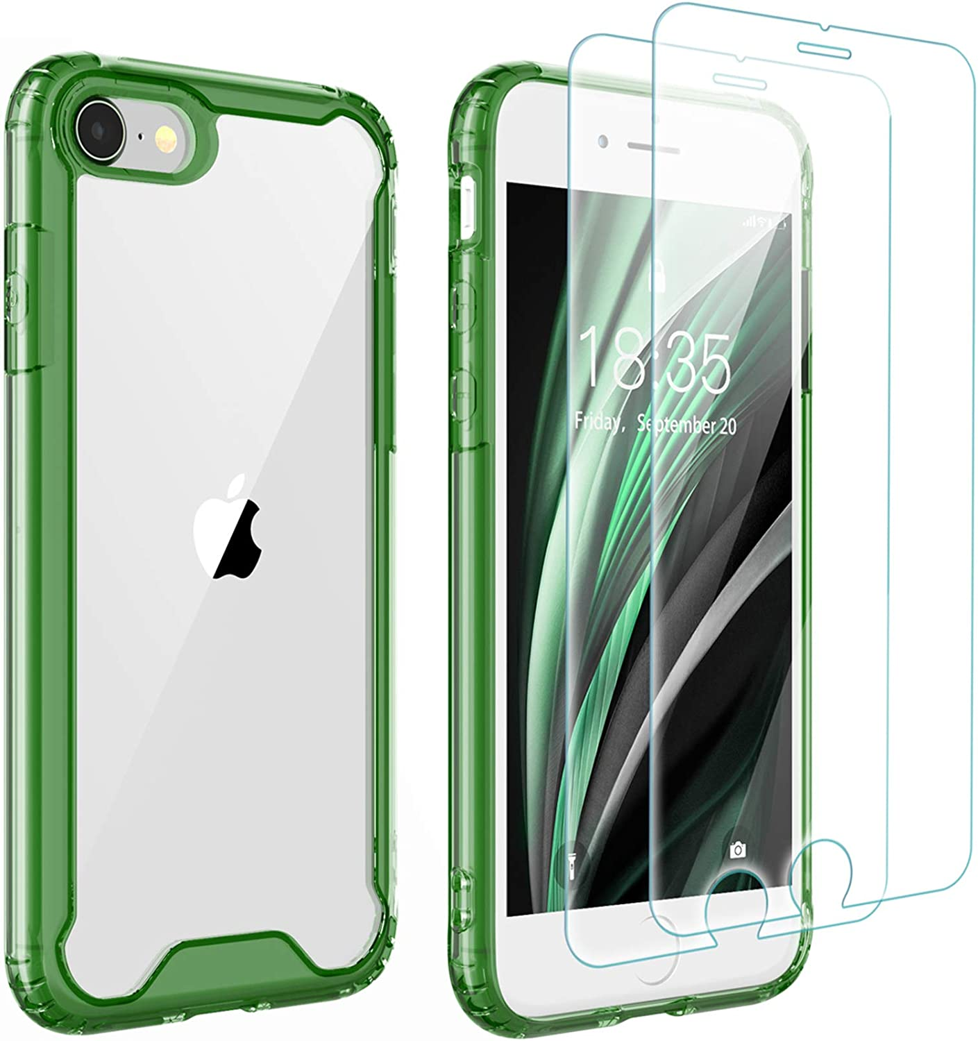 Singdo iPhone SE 2020 Case,iPhone 7/8 Case,with [2 xTempered Glass Screen Protector] Premium Clear Soft TPU + Hard PC Ultra-Clear Anti-Scratch Case for iPhone SE 2020/7/8 4.7 inch (Dark Green)